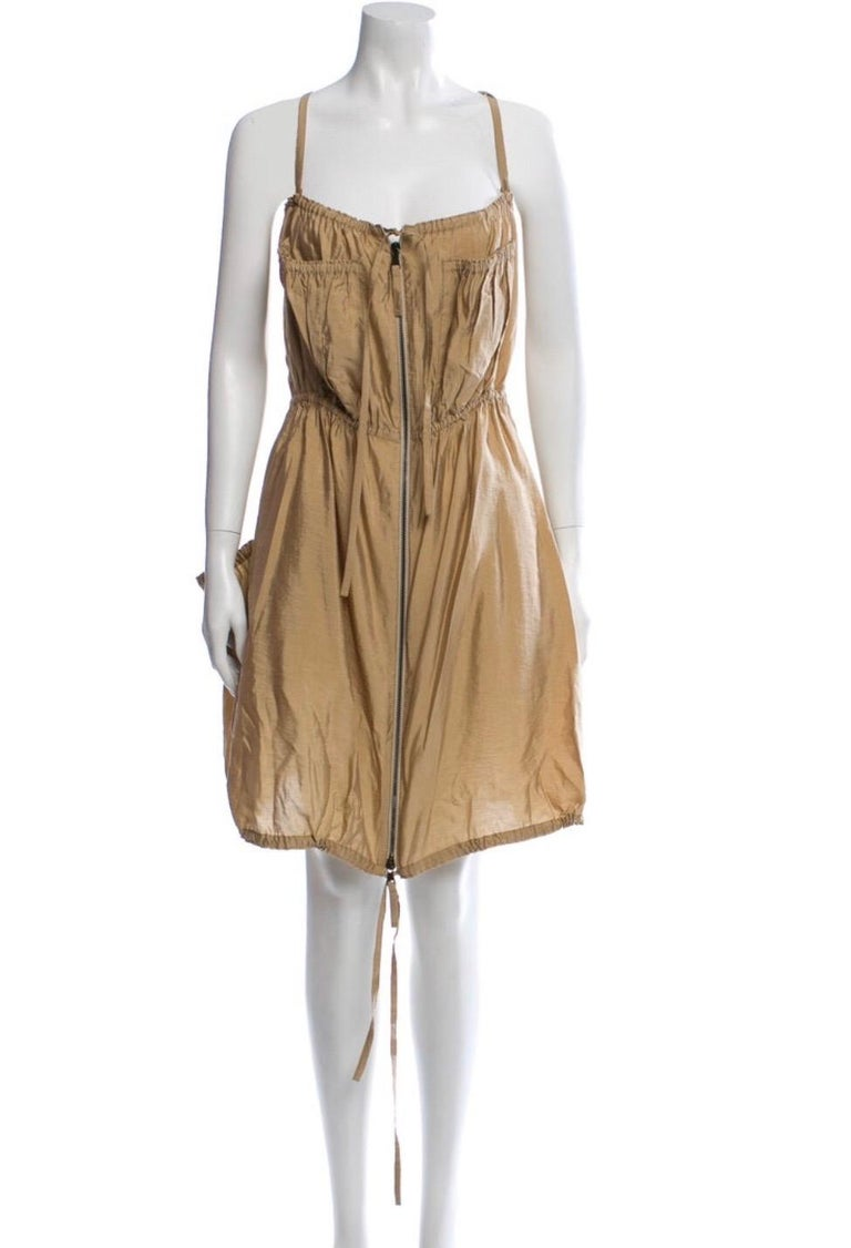 Jean Paul Gaultier Classique Silk Dress, zippers and drawstrings In Excellent Condition In Austin, TX