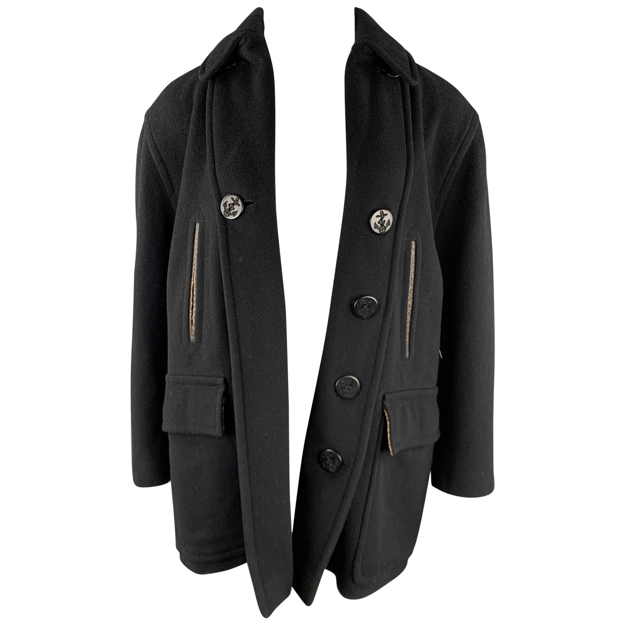 JEAN PAUL GAULTIER CLASSIQUE Size 10 Black Wool Blend Open Front Coat