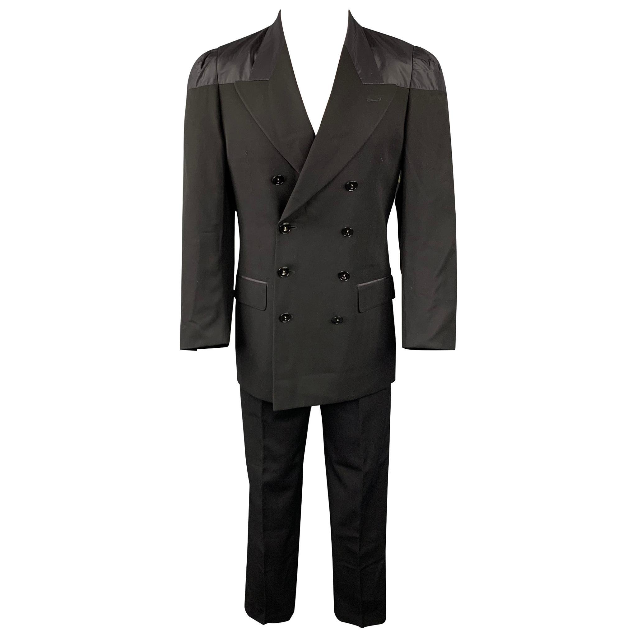 JEAN PAUL GAULTIER CLASSIQUE Size 38 Black Wool Peak Lapel Double Breasted Suit