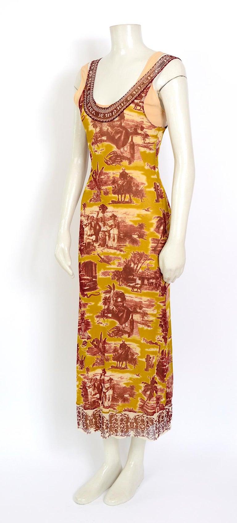 Jean Paul Gaultier classique vintage 1990s cuba print + nude mesh slip dresses  In Excellent Condition For Sale In Antwerp, BE