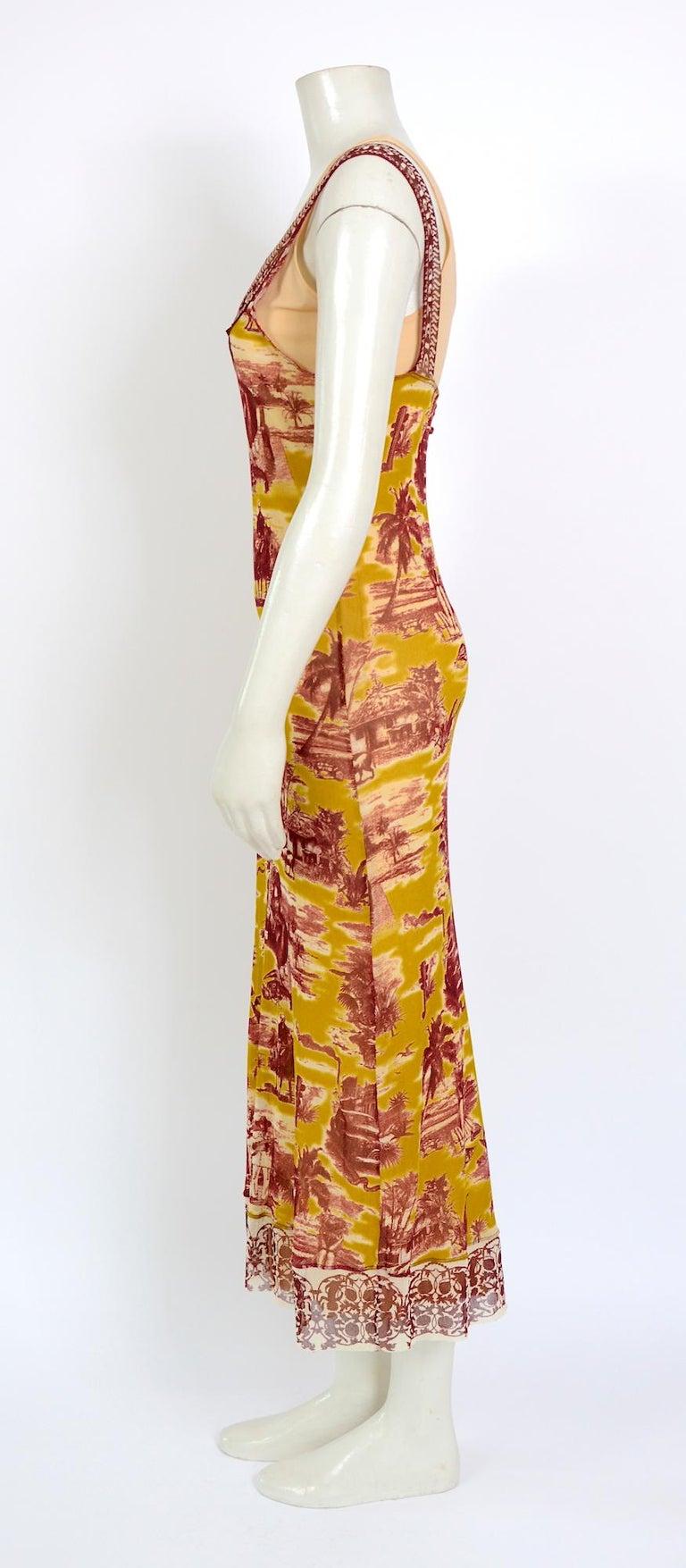 Women's Jean Paul Gaultier classique vintage 1990s cuba print + nude mesh slip dresses  For Sale