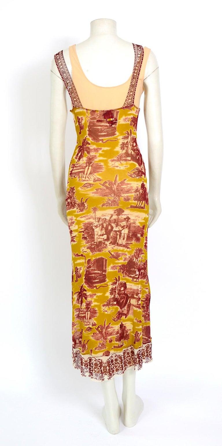 Jean Paul Gaultier classique vintage 1990s cuba print + nude mesh slip dresses  For Sale 1