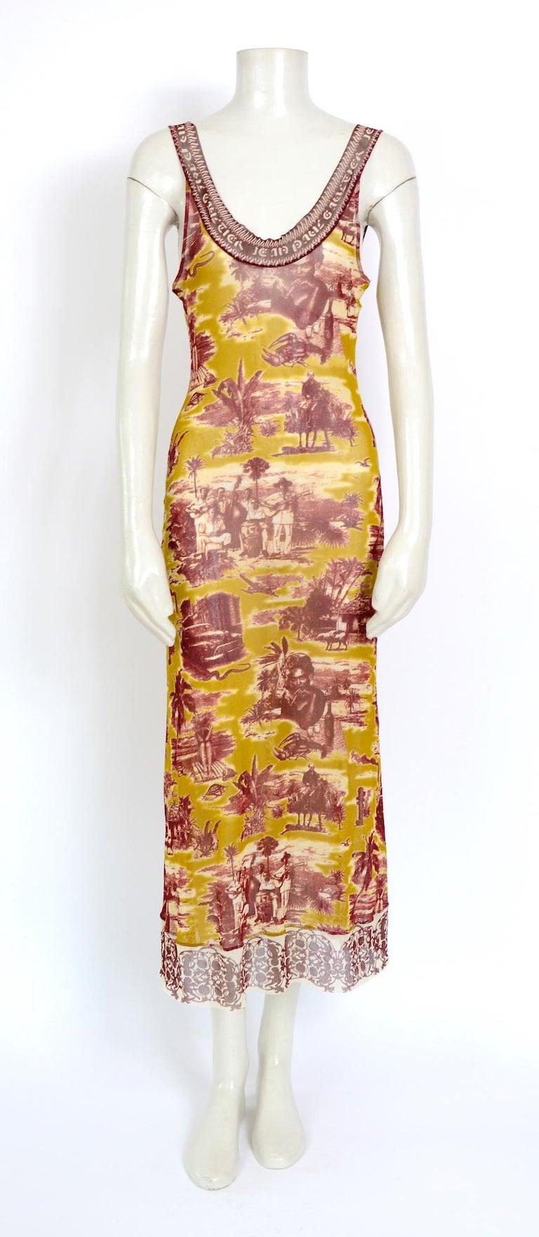 Jean Paul Gaultier classique vintage 1990s cuba print + nude mesh slip dresses  For Sale 2