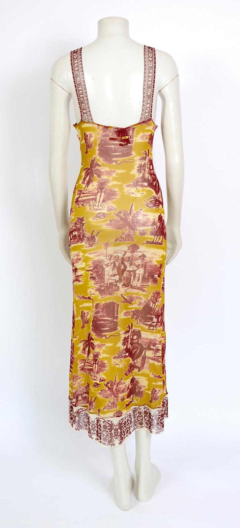 Jean Paul Gaultier classique vintage 1990s cuba print + nude mesh slip dresses  For Sale 3