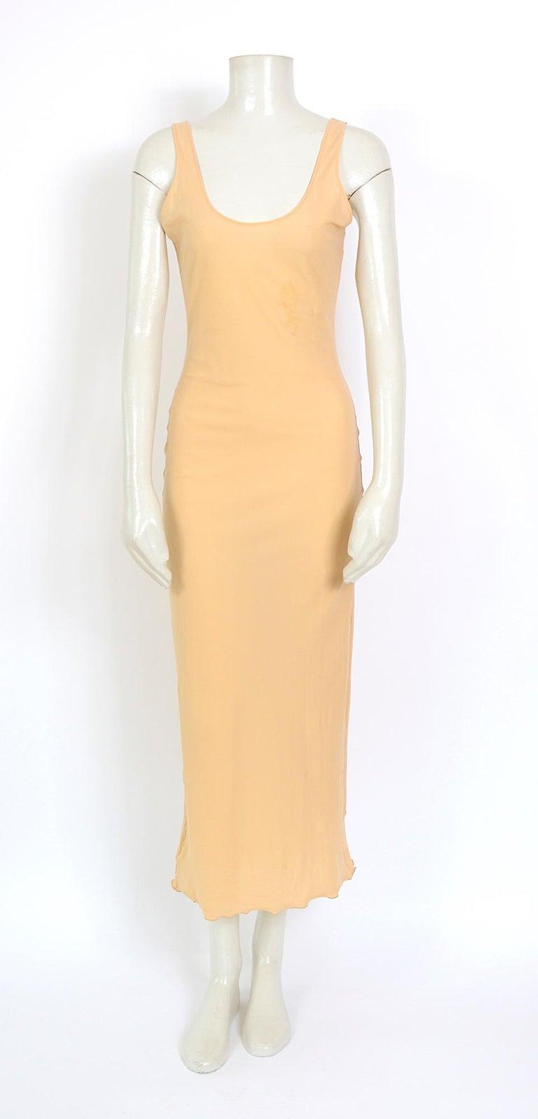 Jean Paul Gaultier classique vintage 1990s cuba print + nude mesh slip dresses  For Sale 4