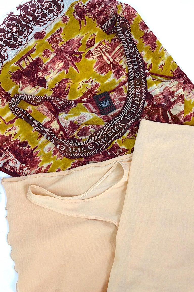 Jean Paul Gaultier classique vintage 1990s cuba print + nude mesh slip dresses  For Sale 5