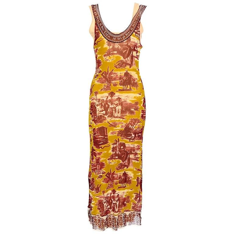 Jean Paul Gaultier classique vintage 1990s cuba print + nude mesh slip dresses  For Sale