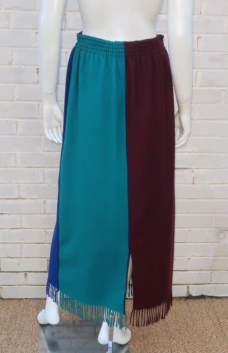 Purple Jean Paul Gaultier Color Block Wool Fringe Skirt, 1980's