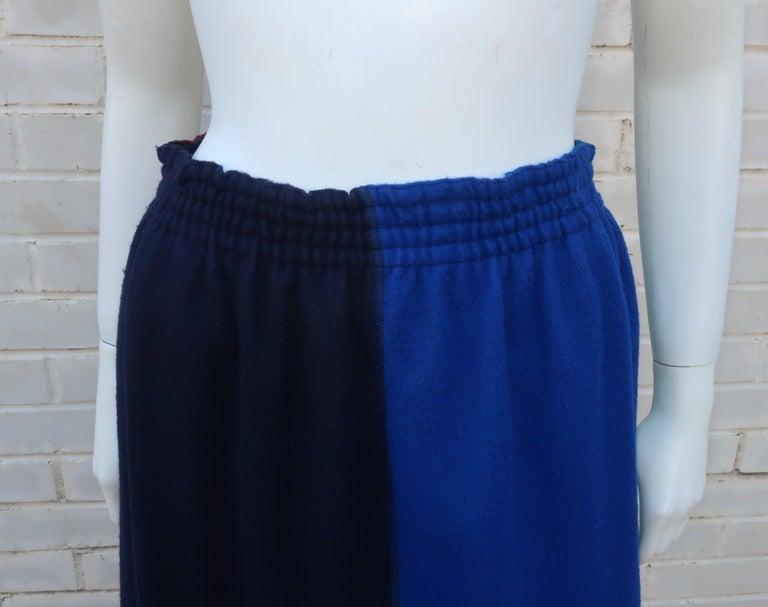 Jean Paul Gaultier Color Block Wool Fringe Skirt, 1980's In Fair Condition In Atlanta, GA