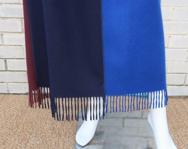 Women's Jean Paul Gaultier Color Block Wool Fringe Skirt, 1980's