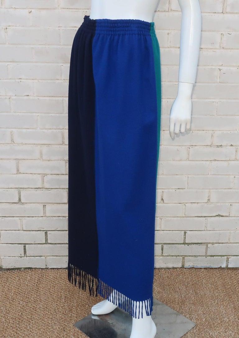 Jean Paul Gaultier Color Block Wool Fringe Skirt, 1980's 1