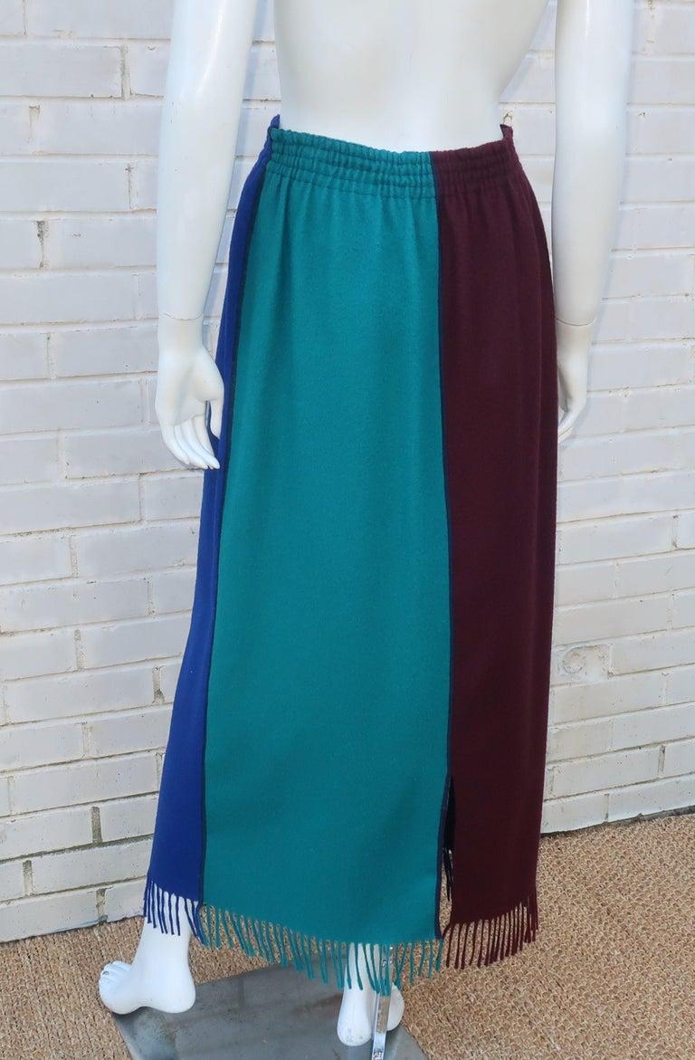 Jean Paul Gaultier Color Block Wool Fringe Skirt, 1980's 2