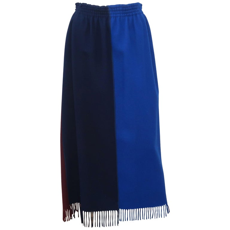 Jean Paul Gaultier Color Block Wool Fringe Skirt, 1980's