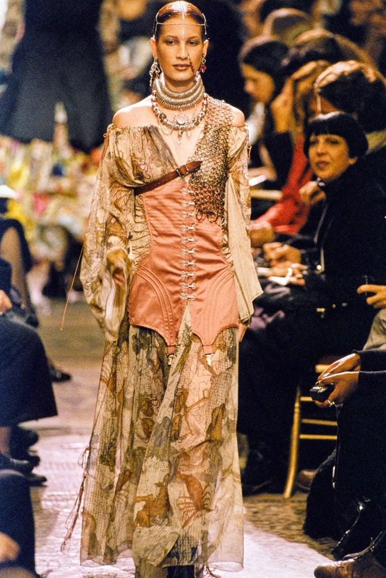 Beige Jean Paul Gaultier cotton muslin corseted 'Joan of Arc' dress, ss 1994 For Sale