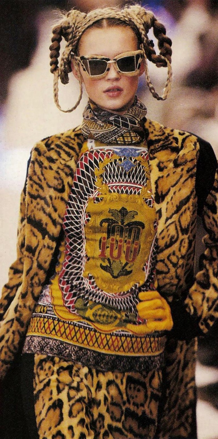 Jean Paul Gaultier Currency Print Mesh Turtleneck Top, Fall-Winter 1994-1995 In New Condition In Geneva, CH
