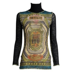 Jean Paul Gaultier Currency Print Mesh Turtleneck Top, Fall-Winter 1994-1995