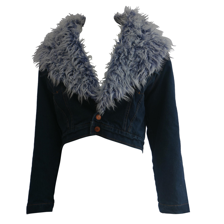 Jean Paul Gaultier Denim Jacket With Faux Fur Lining
