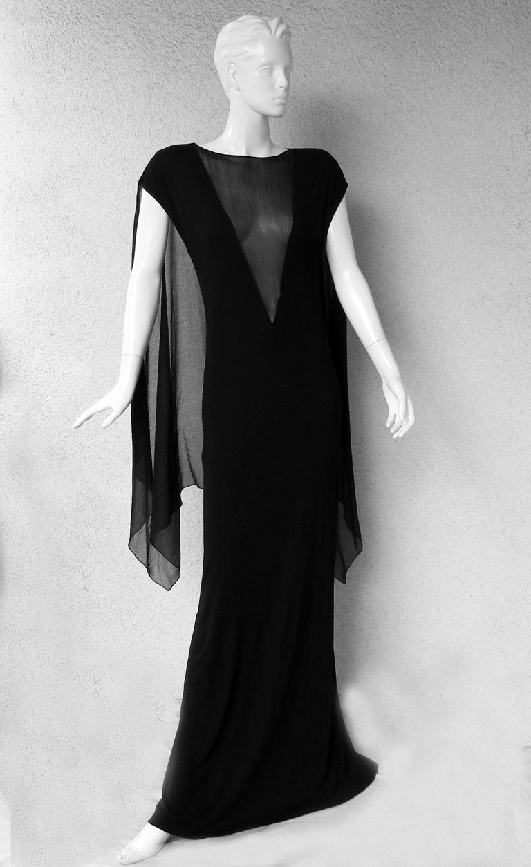 Jean Paul Gaultier Dramatic Goth Dress Gown with Flowing Cape   New In New Condition For Sale In Los Angeles, CA