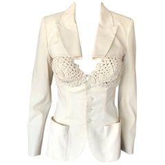 Jean Paul Gaultier Embroidered Cups Top and Jacket 2 Piece Set