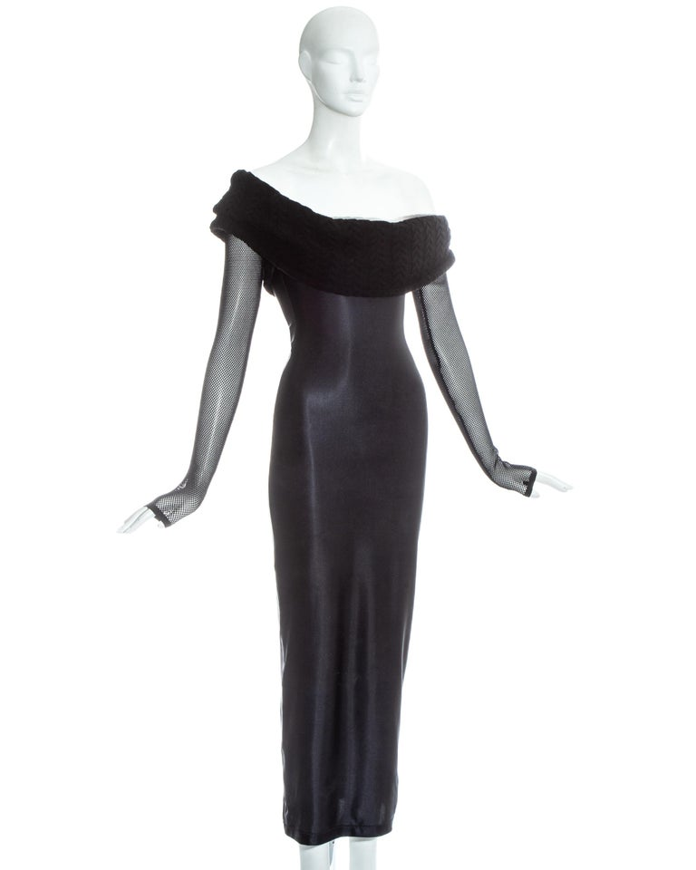 Jean Paul Gaultier Equator black maxi dress with knitted shawl collar, c. 1980s In Good Condition For Sale In London, GB
