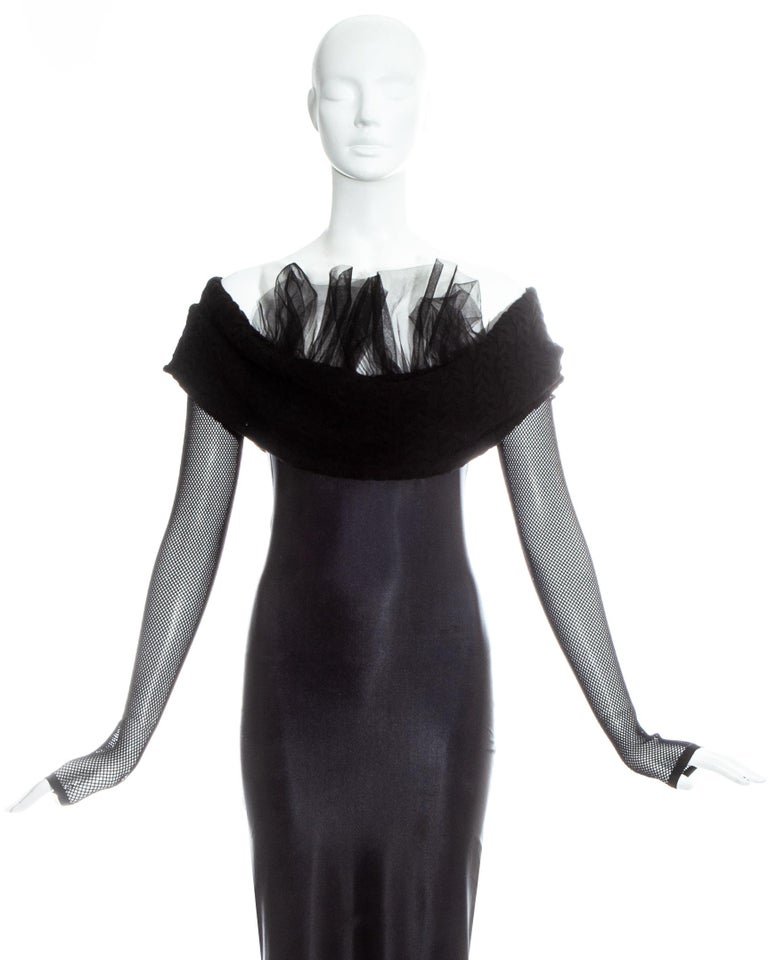 Women's Jean Paul Gaultier Equator black maxi dress with knitted shawl collar, c. 1980s For Sale