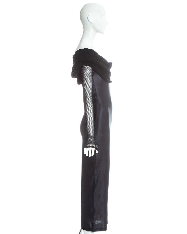 Jean Paul Gaultier Equator black maxi dress with knitted shawl collar, c. 1980s For Sale 1