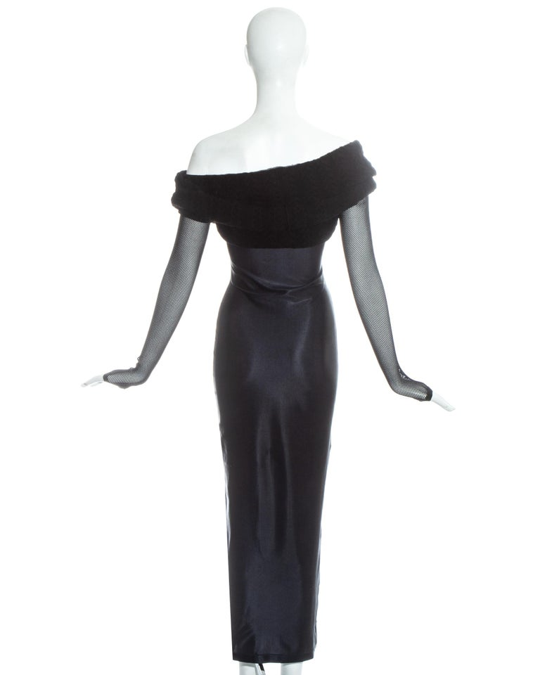 Jean Paul Gaultier Equator black maxi dress with knitted shawl collar, c. 1980s For Sale 2