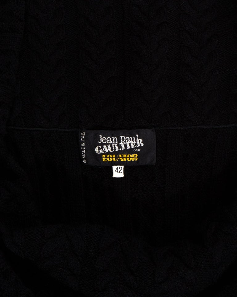 Jean Paul Gaultier Equator black maxi dress with knitted shawl collar, c. 1980s For Sale 3