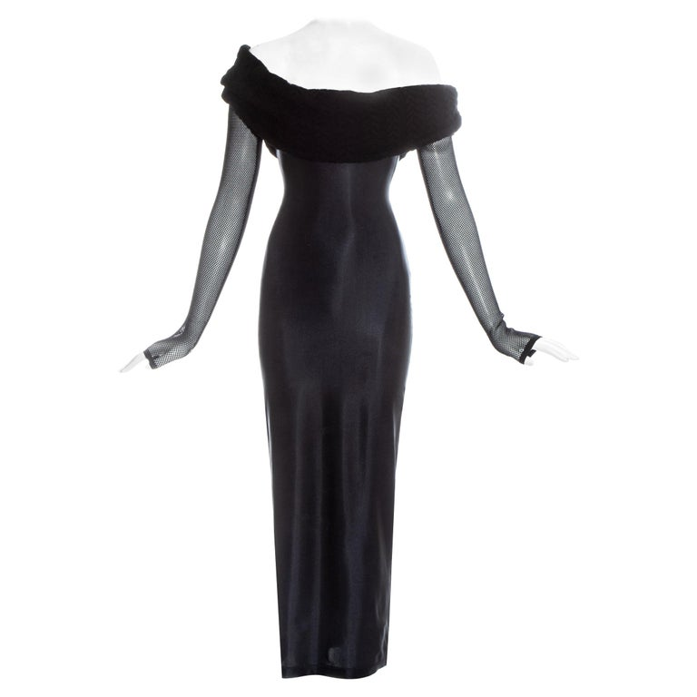Jean Paul Gaultier Equator black maxi dress with knitted shawl collar, c. 1980s For Sale