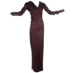 Jean Paul Gaultier Evening Gown in Burgundy and Deep Green W/ Extra Long Sleeves