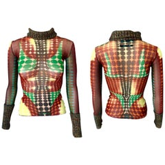 Jean Paul Gaultier F/W 1995 Runway Iconic Cyber Dots Sheer Top