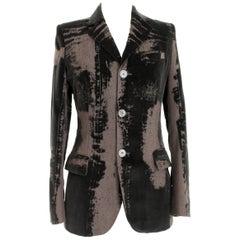Jean Paul Gaultier Femme Brown Velvet Wool Damask Evening Slim Fit Jacket
