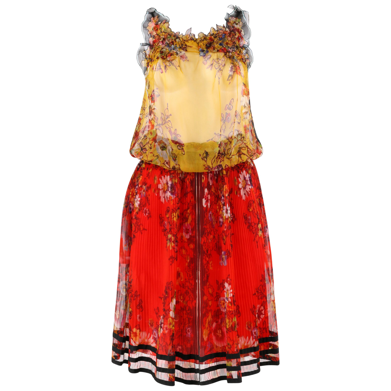 JEAN PAUL GAULTIER Femme c.2000's 3 Pc Floral Tank Skirt Slip Dress Set