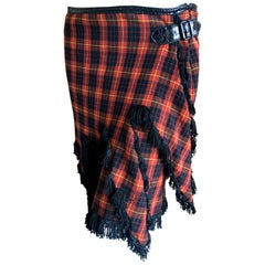 Jean Paul Gaultier Femme Fringed Tartan Wrap Kilt Skirt with Patent Leather Trim
