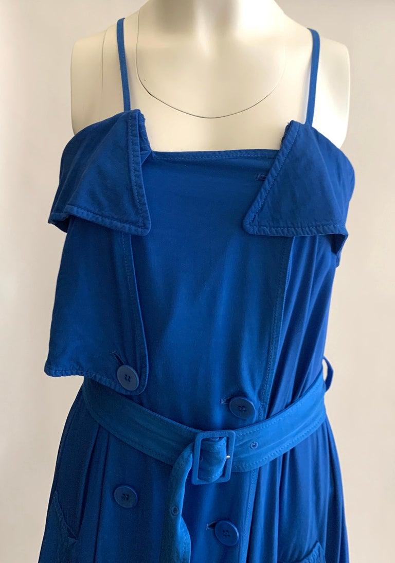 Women's New Jean Paul Gaultier Femme Blue Trench Coat Maxi Dress For Sale