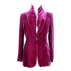 Jean Paul Gaultier Femme Purple Silk Velvet Shawl Jacket 1990s