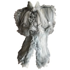 Jean Paul Gaultier Femme Romantic Gray Vintage Silk Tulle Top