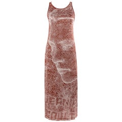 JEAN PAUL GAULTIER Femme S/S 2001 Rust Brown Constellation Faces Maxi Dress