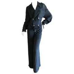 Jean Paul Gaultier Femme Vintage 80's Semi Sheer Silk Pinstripe Jumpsuit w Belt