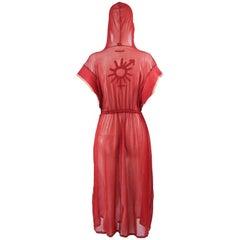 Jean Paul Gaultier Fine Sheer Red Mesh Vintage Boxer Style Dress, 1990s