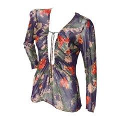 Jean Paul Gaultier Floral Mesh Blouse
