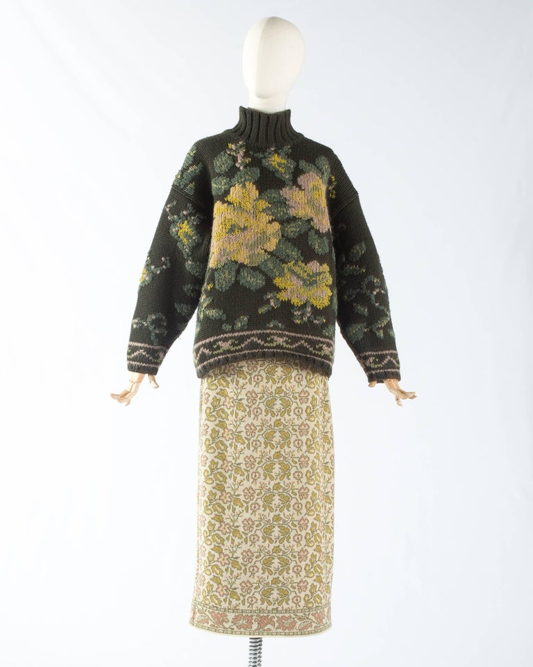 Gray Jean Paul Gaultier floral tapestry cable-knit sweater and skirt, aw 1984 For Sale