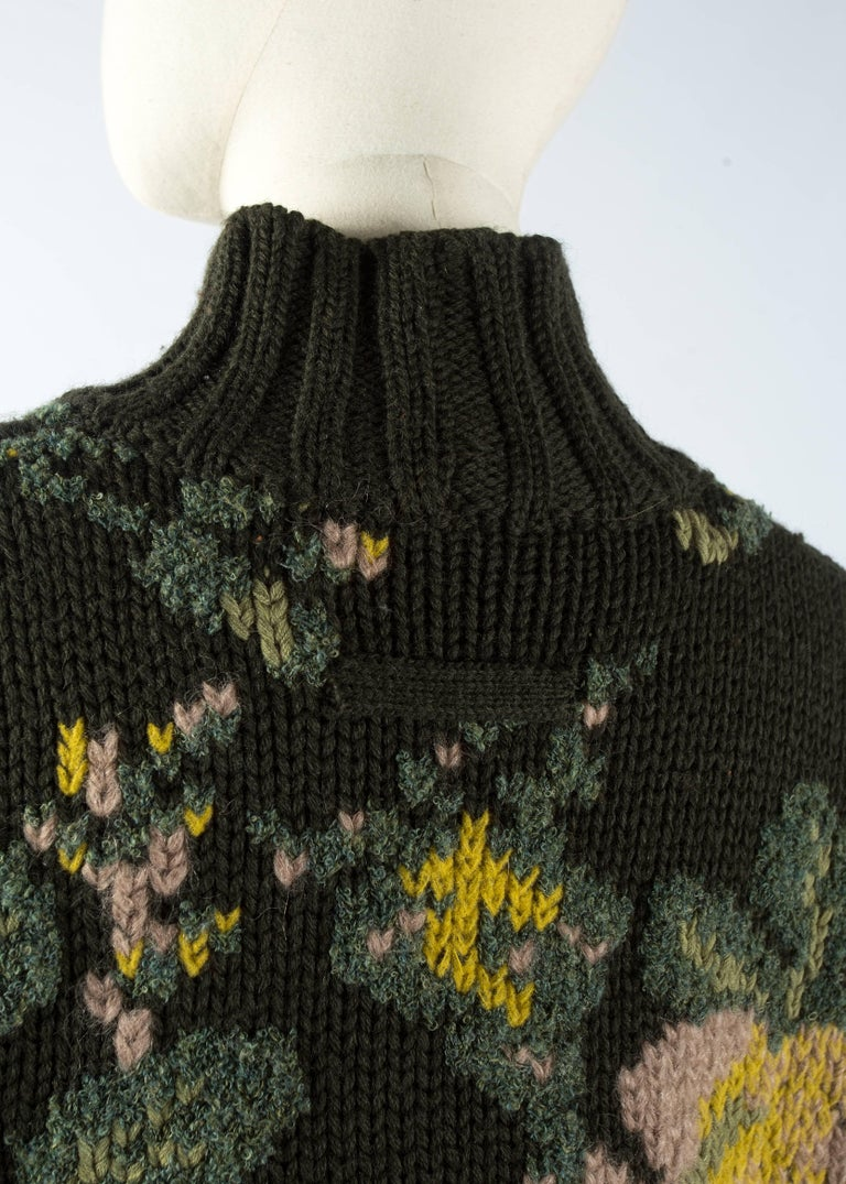 Women's Jean Paul Gaultier floral tapestry cable-knit sweater and skirt, aw 1984 For Sale