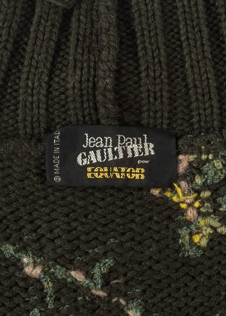Jean Paul Gaultier floral tapestry cable-knit sweater and skirt, aw 1984 For Sale 2