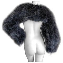 Jean Paul Gaultier Fourrure Vintage Blue Gray Feather Tie Front Bolero Shrug