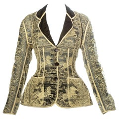 Jean Paul Gaultier gold lace and silk organza corseted jacket, ss 1988