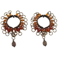 Jean Paul Gaultier Gothic Metal Hoop Clip Earrings