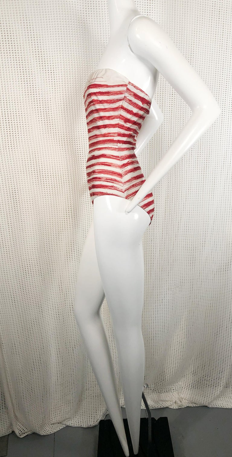 Jean Paul Gaultier Graphic Striped Strapless Swimsuit In Red & White In Good Condition For Sale In San Francisco, CA