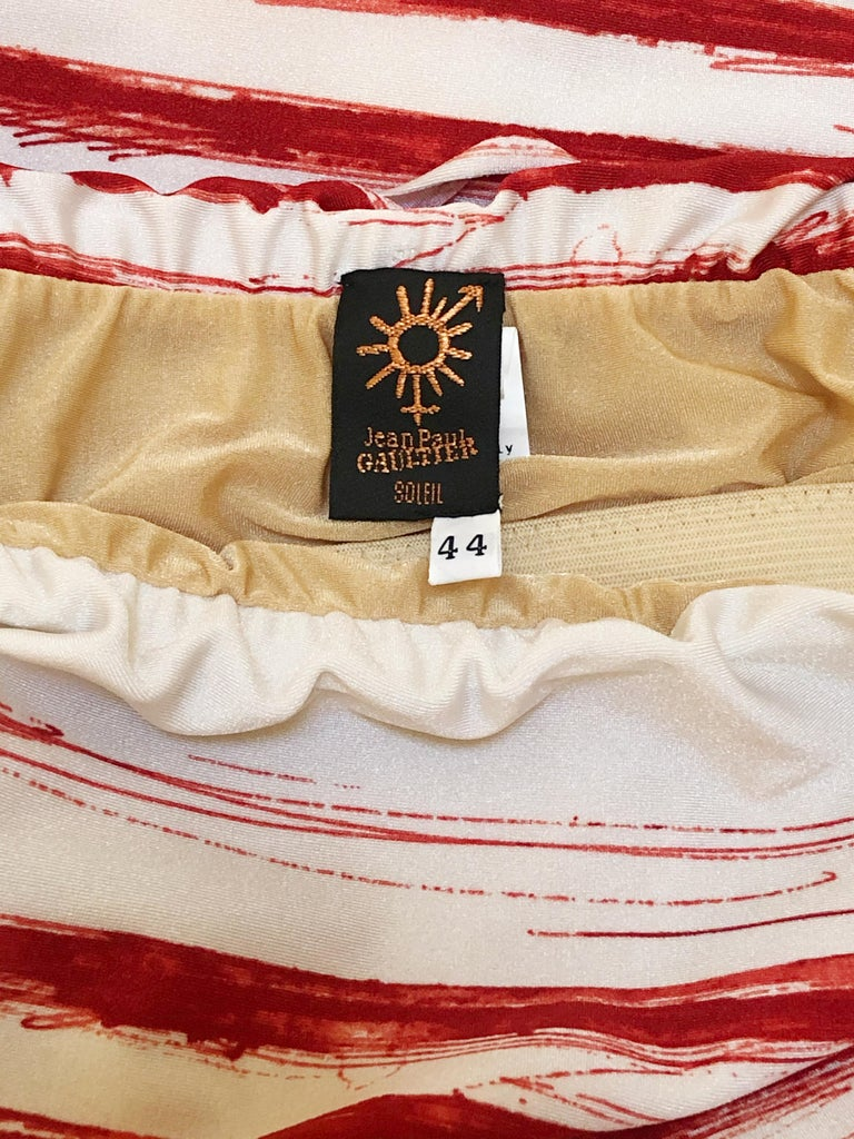 Jean Paul Gaultier Graphic Striped Strapless Swimsuit In Red & White For Sale 1