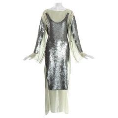 Jean Paul Gaultier green cotton trompe l'oeil sequin lace up dress, ss 1994